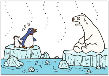 南極や北極の氷がとけ出す
